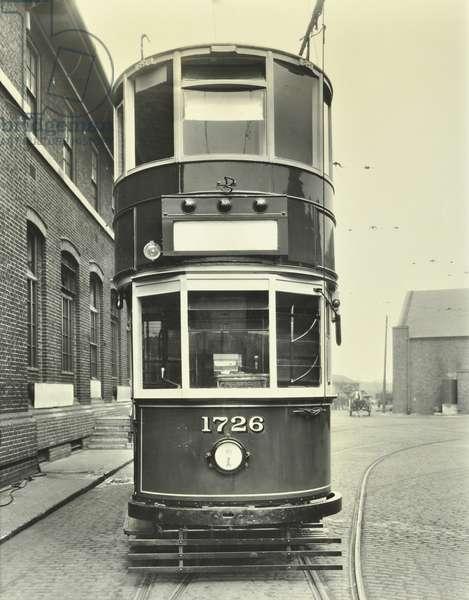A rear view of electric tramcar, 1932 (b/w photo)