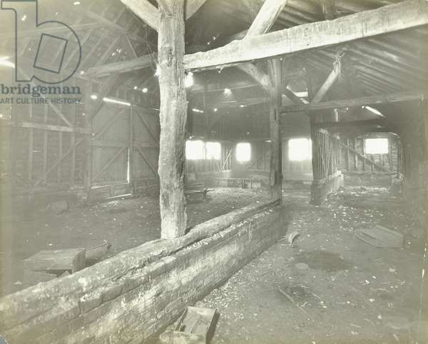 Saint Helier Estate: Old barn in Hill House grounds, London, 1929 (b/w photo)