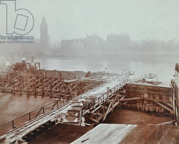 View of New County Hall site looking towards Westminster Bridge and Big Ben, London, 1909 (b/w photo)