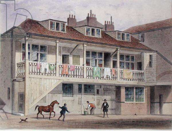 View of the Black Lion Inn, Whitefriars Street, c.1855 (w/c on paper)