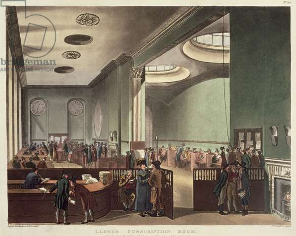 Royal Exchange, Lloyds Subscription Room, from Ackermann's 'Microcosm of London', 1809 (colour aquatint)