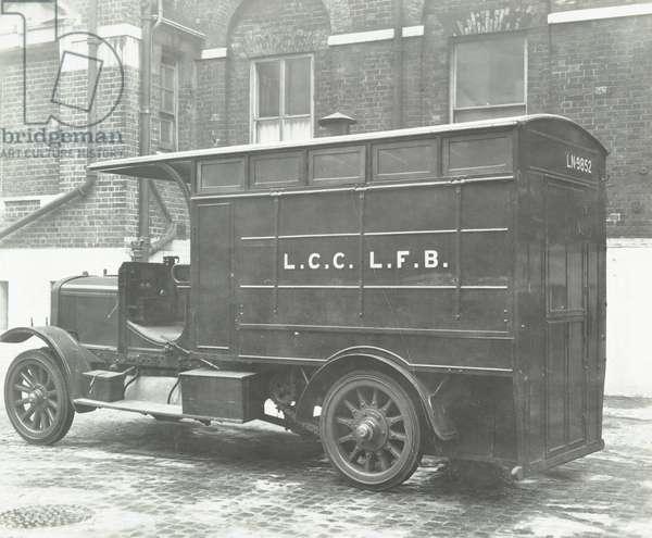 London Fire Brigade: old canteen van, 1936 (b/w photo)