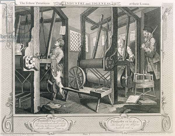 The Fellow 'Prentices at their Looms, plate I of 'Industry and Idleness', published 1833 (engraving)
