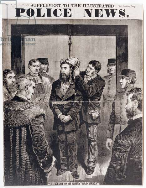 The Execution by Hanging of Henry Wainwright at Newgate Gaol on 21st December 1875, published in 'Police News', 1875 (wood engraving)