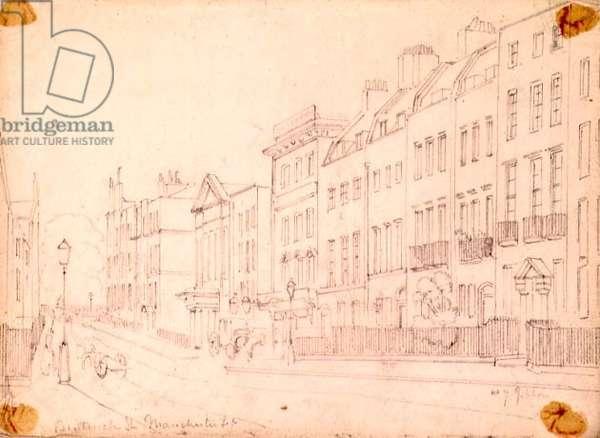 Bentinck Street, off Manchester Square, London, c.1850 (pencil on paper)