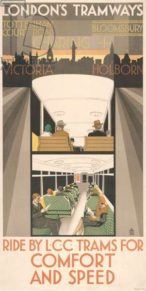 Ride By LCC Tramways For Comfort And Speed, 1929 (colour litho)