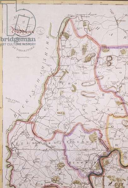 Map of Middlesex, c.1789 (detail of north west corner) by John Carey (1754-1835)