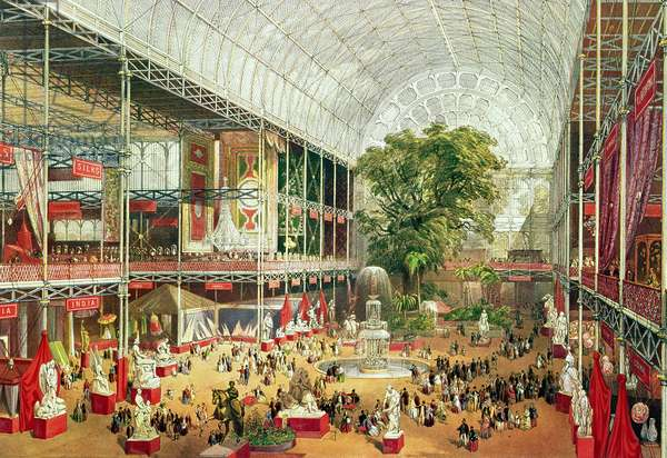 Interior View of Crystal Palace during the Great Exhibition of 1851, engraved by William Simpson (1823-99) 1851 (colour litho)