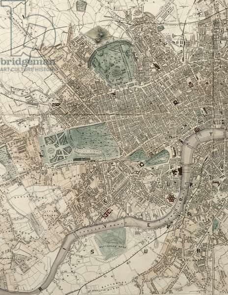 Tallis's Illustrated Plan of London and it's Environs, in Commemoration of the Great Exhibition of Industry of all Nations, 1851, published by John Tallis & Co. (coloured engraving) (detail of 44239)