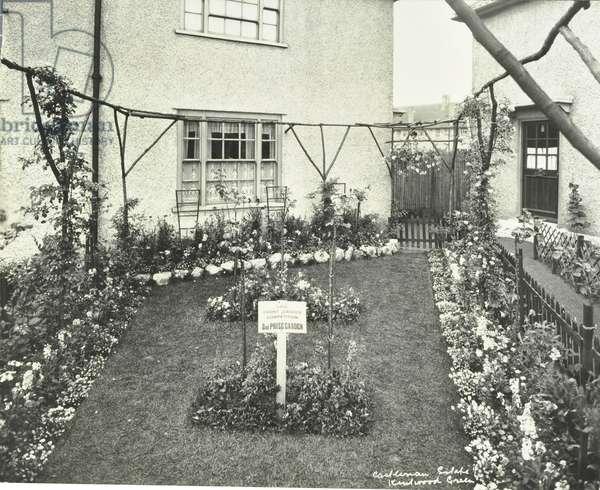 Castelnau Estate: 37 Kentwood Green, prize winning garden, London, 1930 (b/w photo)
