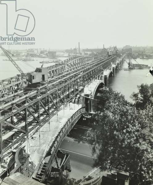 Waterloo Bridge: view of demolition, 1935 (b/w photo)