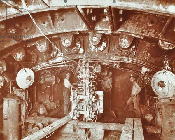 Construction of Rotherhithe Tunnel, 1907 (b/w photo)