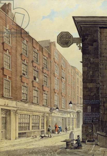 Lombard Street West, with St. Mary Woolnoth, 1810 (w/c)