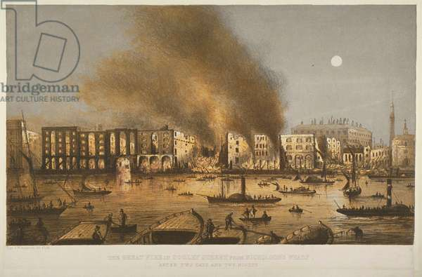 Night time view of the 1861 fire in Tooley Street, Bermondsey, 1861 (colour litho)