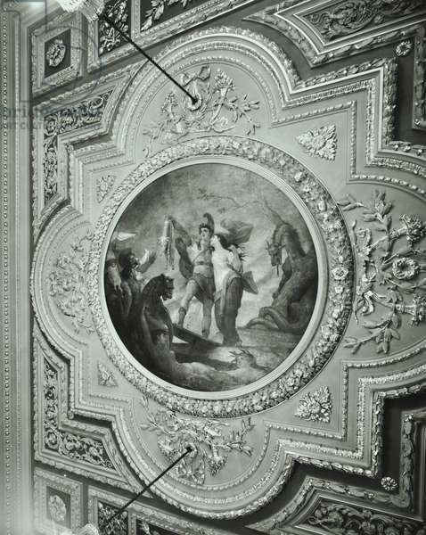 Ceiling of dining room, Drapers' Hall, Throgmorton Avenue, City of London, 1977 (b/w photo)