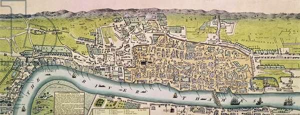 """""""Londinium Antiqua"""", map of London, pub. by William Darton, 1563 (hand-coloured engraving)"""