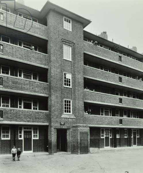Browning Estate: exterior of Tennyson House, London, 1937 (b/w photo)