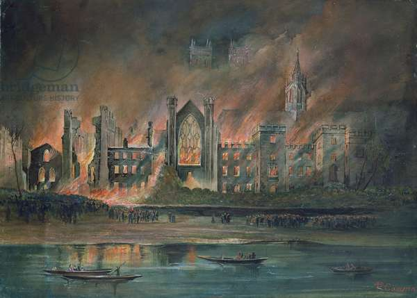 Fire at the Houses of Parliament, 16th October 1834 (gouache)