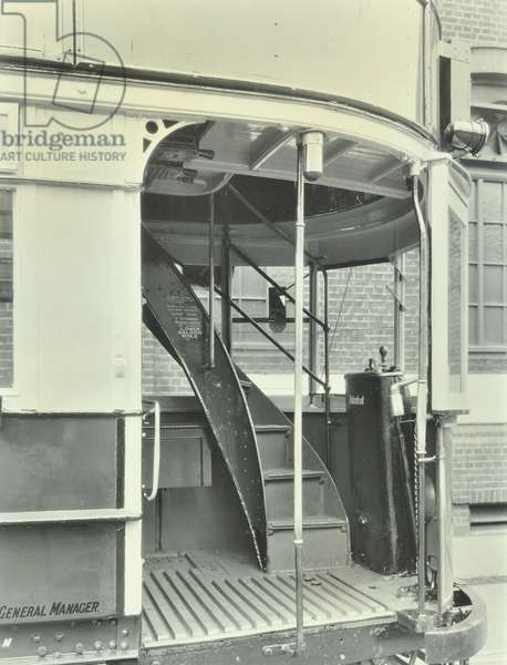 An exterior view of a tramcar showing stairs, 1932 (b/w photo)