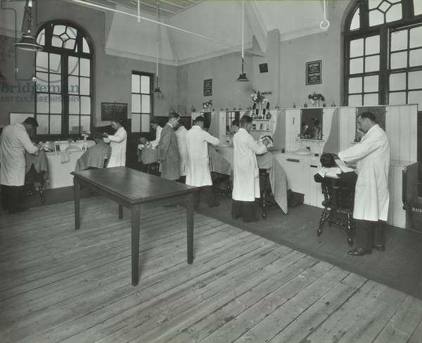 Nynehead Street: hairdressing class, 1934 (b/w photo)
