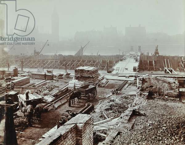 View of New County Hall site, London, 1909 (b/w photo)