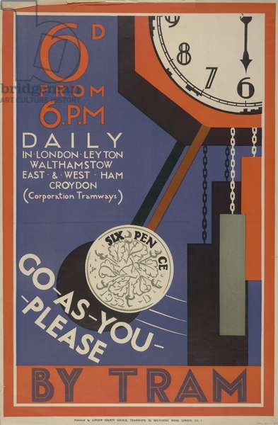 6d From 6pm Daily, Go As You Please In London, Leyton, Walthamstow, East And West Ham, Croydon, 1933 (colour litho)