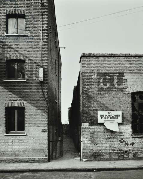 119 Rotherhithe Street: alley to river, London, 1977 (b/w photo)