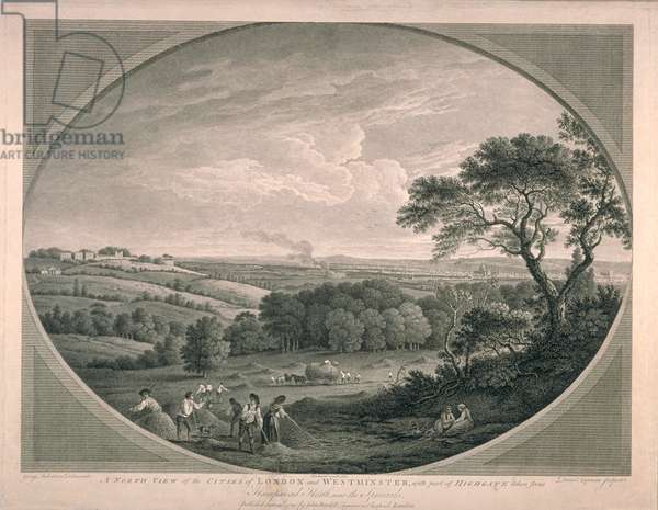 Pastoral View of Cities of Westminster with part of Highgate, 1780 (litho)