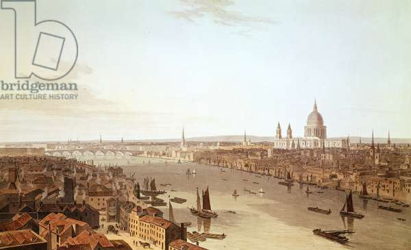 St. Paul's Cathedral and the City, early 19th century (aquatint)