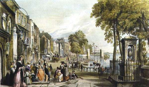 Chelsea Old Church and Sir Hans Sloane's Tomb (litho)