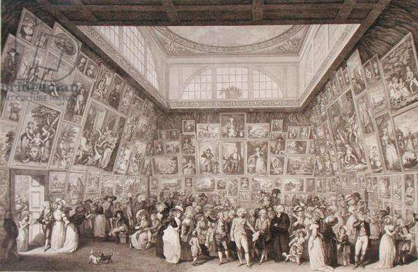 Interior view of Somerset House showing an exhibition of the Royal Academy of Arts in 1787, 1787 (etching)