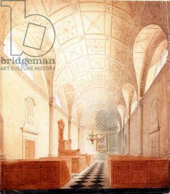 All Hallows, London Wall, interior, c.1800 (w/c)