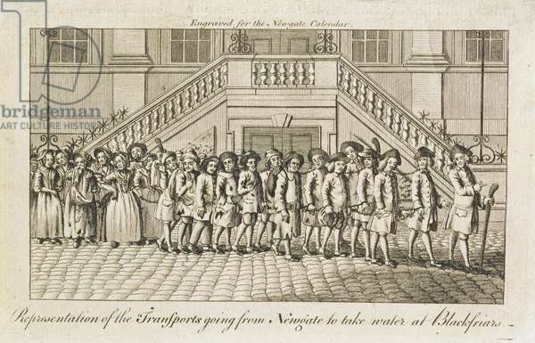 A line of chained convicts from Newgate Prison, Old Bailey, being taken to Blackfriars for transportation, c.1760 (engraving)