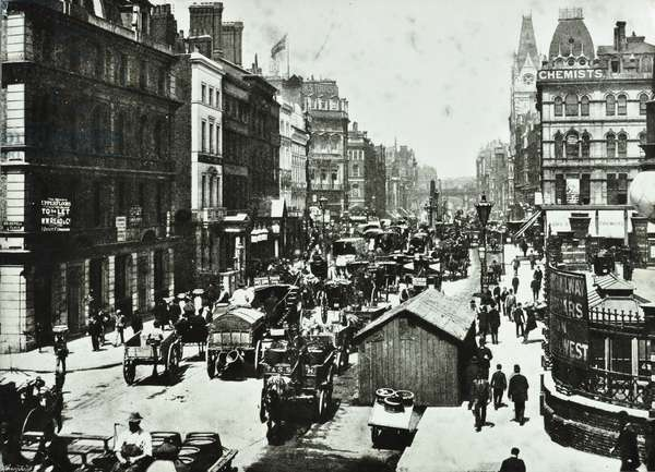 New Bridge Street, looking to Ludgate Circus, City of London, 1890 (b/w photo)