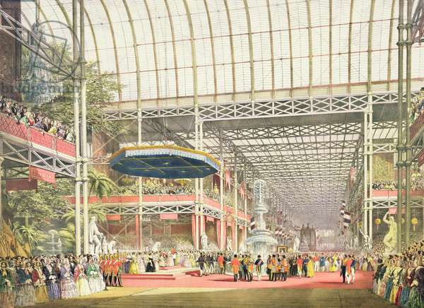 The Inauguration of the Great Industrial Exhibition of 1851, plate 1 from 'Dickenson's Comprehensive Pictures' (colour litho)