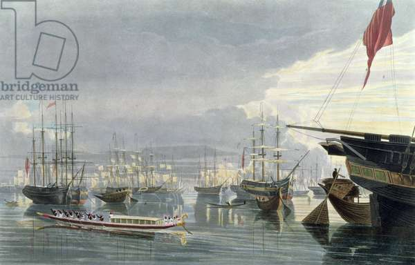 A View of the River, Shipping and Town of Calcutta, from near Smiths Dock, 1837, engraved by Robert Havell the Younger (1793-1878) (aquatint)