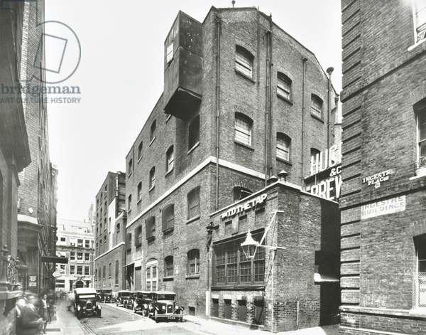 Huggins Brewery: Ingestre Place, east side looking north, London, 1937 (b/w photo)