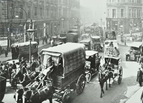 Queen Victoria Street at Cannon Street, City of London, 1912 (b/w photo)