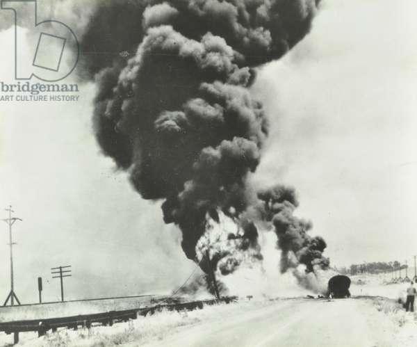 Burning petrol tanker, 1934 (b/w photo)