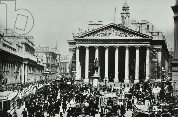 Bank Of England, Threadneedle Street, City of London, 1890 (b/w photo)