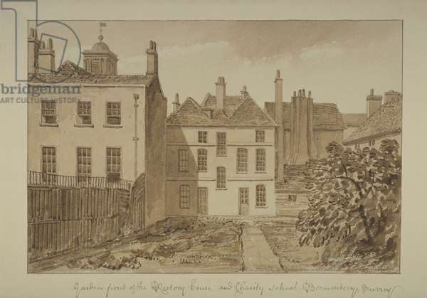 View of the rectory and Charity School of St Mary Magdalen, Bermondsey, 1828 (wash on paper)