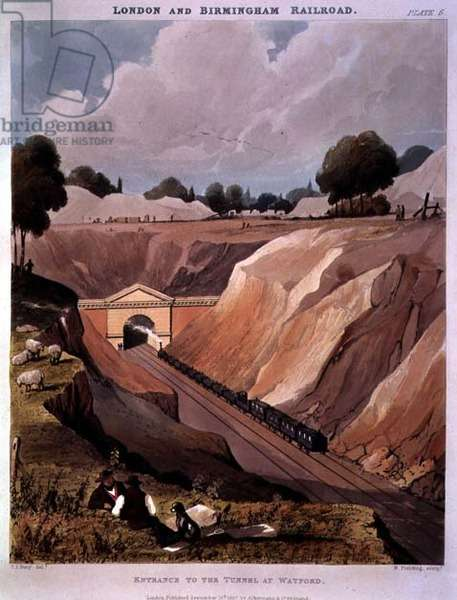 London and Birmingham Railroad: Entrance to Watford Tunnel by T.Bury and N.Fielding (lithograph)