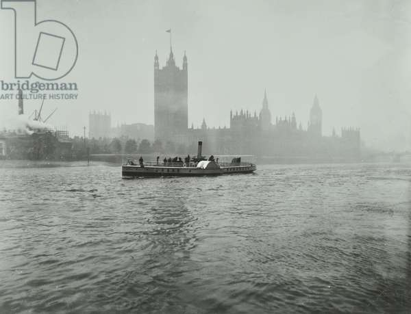 London County Council Steamboat outside the Houses of Parliament, 1905 (b/w photo)