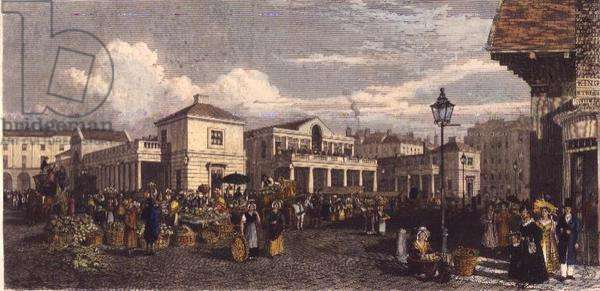 Covent Garden Market, print, engraved by F.J. Havell, pub. J.Robins, 1827 (engraving)