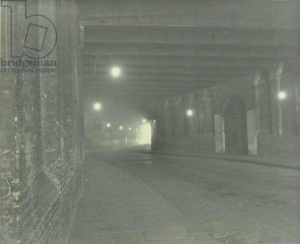 London Bridge Station, Joiner Street: tunnel under London Bridge Station, 1930 (b/w photo)