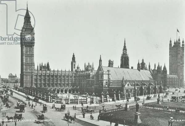 Parliament Square, Westminster LB: looking east to Big Ben and Houses of Parliament, 1895 (b/w photo)