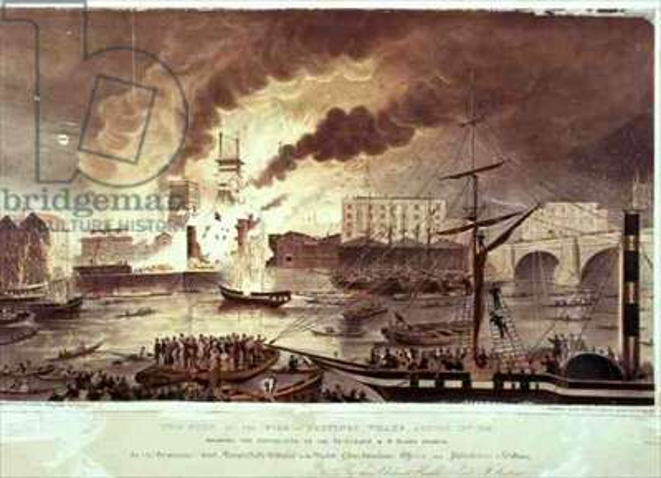 Toppings Wharf Fire, 1843 (litho)