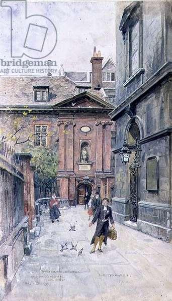 Christ Church and Christ's Hospital, Newgate Street, City of London, 1900 (w/c)