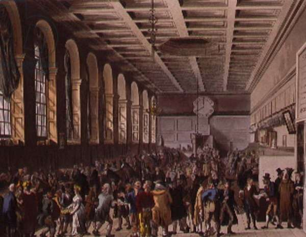 Custom House, the Long Room from Ackermann's 'Microcosm of London'