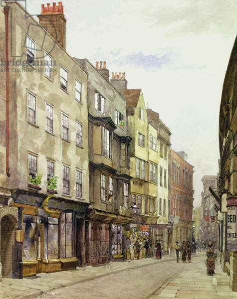 Holywell Street Looking West, 1882 (w/c on paper)